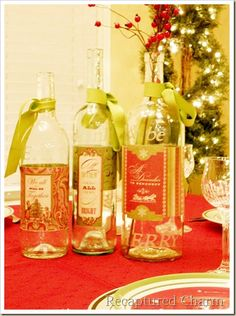 Decorated etched wine bottles.