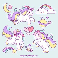Sketches of unicorn with lovely elements Free Vector Unicorn Art, Cute Unicorn, Unicorn Pillow, Unicorn Crafts, Unicorn Images, Unicorn Pictures, Unicorns And Mermaids, Unicorn Birthday Parties, Sketches
