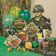 Camouflage / Army Party Pack    Pack includes invites, plates, cups, napkins, table cover, streamers, balloons, confetti, army guy cutout, camo duckies, sunglasses, PVC curtain, treat bags, army helmets, and more.  HOOAH!