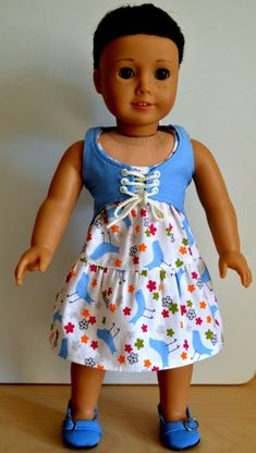 American Girl  Doll Clothes - Handmade- 18 Inch Doll - Double Tier Dress - Bluebirds and Flowers - Lt Blue Laced Vest - Button Hair Elastics