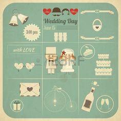 Carta dell'invito di cerimonia nuziale in stile retrò Infografica. Vintage Design, formato quadrato, Wedding Set illustrazione. Archivio Fot...