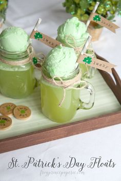 Get a little luck of the Irish with some fizzy green Shamrock Floats and make a few lucky straw flags to top your floats with shamrock style!