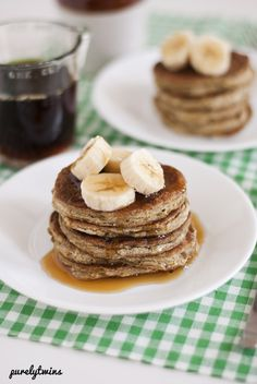 A recipe for grain-free egg-free gluten-free pancakes that are made from plantains. These pancakes do taste good the next day. Egg Free Desserts, Egg Free Recipes, Real Food Recipes, Diet Recipes, Dessert Recipes, Paleo Meals, Whole30 Recipes, Breakfast Items, Desert Recipes