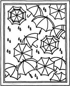 Hooked Rug Pattern:  Rainy Day