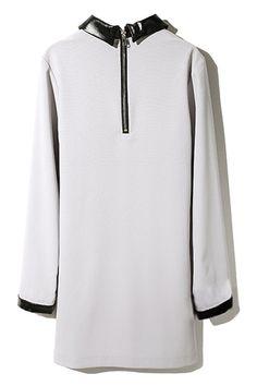 White Contrast Black Pleather Dress #Romwe