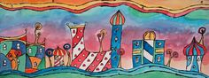 Hundertwasser Houses Watercolour Painting, architecture, watercolor, 7th Grade, 8th grade,