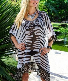Black & White Animal Embellished Tunic
