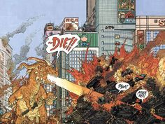 Something from the insane Geoff Darrow Frank Miller comic Big Guy and Rust the Boy Robot. An homage to Tokasatu movies, it's got some of the craziest art I've ever seen.
