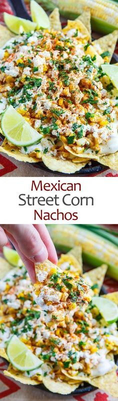 *(INCLUDED CHICKEN) Mexican Street Corn Nachos - all the flavours of Mexican style street corn in nacho form with grilled or charred corn, mayo, feta, cilantro, cayenne and lime juice along with the nachos and creamy melted Monterey Jack cheese sauce! Mexican Dishes, Mexican Food Recipes, Vegetarian Recipes, Cooking Recipes, Nacho Recipes, Vegetarian Nachos, Kitchen Recipes, Tostada Recipes, Easy Recipes