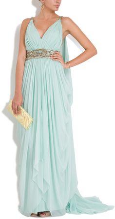Marchesa Chiffon Embellished Grecian Gown in Blue (mint) - Lyst