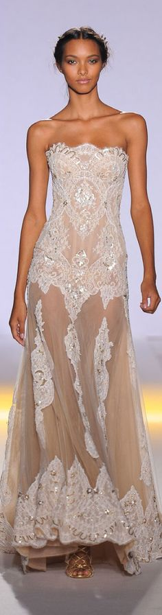 Zuhair Murad ~ Couture Spring Sheer+Sequinned Strapless Gown,Ivory 2013