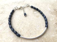 Dark blue rough sapphire bracelet: Seraphic - silver bar bracelet, delicate bracelet, blue bracelet, sapphire jewelry, september birthstone by BuniqueBeads on Etsy