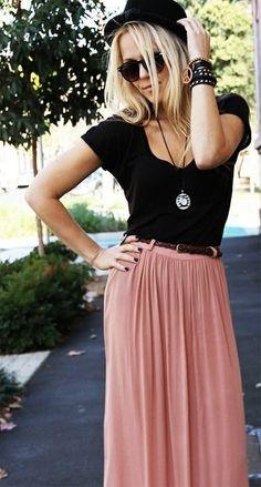 Spring, maxi skirt, hat, black #style #fashion