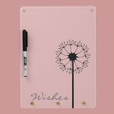 Dandelion Black Floral Dry Erase Board by joacreations