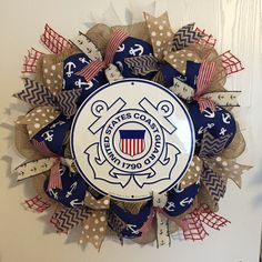 Coast guard wreath Military Crafts, Military Wreath, Wreath Crafts, Diy Wreath, Coast Gaurd, Coast Guard Academy, Navy Coast Guard, Going Away Parties, How To Make Wreaths