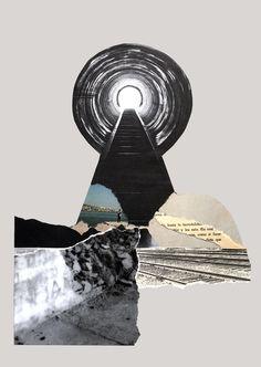 """""""Llegada"""". Collage hecho a mano de la serie """"El territorio inventado"""". Proyecto inspirado en fotolibros, en este caso, a partir de Ouroboro, donde reinterpreto su significado recortando las imágenes del propio libro, en búsqueda de un nuevo territorio. www.nataliaromay.com/#/el-territorio-inventado/ https://www.facebook.com/ouroborocodice/"""