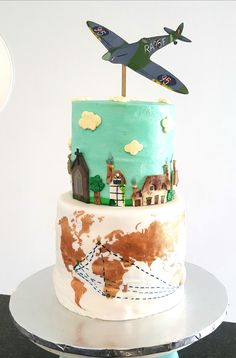 RAF Pilot's Birthday cake who grew up in the Cotswolds and has family all over the world. Birthday Cake, Cupcakes, Drink, Baking, Desserts, Food, Bread Making, Tailgate Desserts, Birthday Cakes