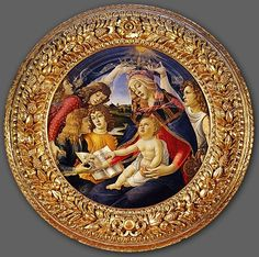 August 15 - Celebration of the Assumption of Mary Painting: Madonna of the Magnificat, 1481 by Sandro Botticelli Italian painter of the Early Renaissance ? 1445 - May 1510 Sandro, Italian Painters, Italian Artist, Michelangelo, Galerie Des Offices, La Madone, Famous Pictures, Madonna And Child, Religious Art
