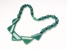 Green Necklace Modernist Geometric Triangle Lucite Plastic Vintage Jewelry Piece #StrandString