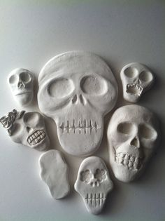 DIY Halloween crafts at their best!    This listing is for a mixed set of my blank skull ornaments. You will receive one of each skull shown in the