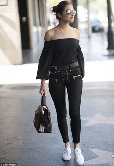 olivia culpo streetstyle all black grease style off the shoulder rock pants