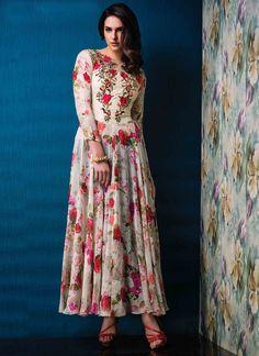 Fab Raw Silk Print Work Designer Gown