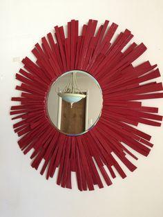Red Wall Mirror sunburst wall mirror wood frame black handmade modern 30