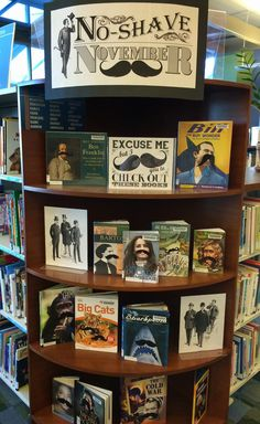 "Display: No-Shave November It's hilarious, really. ""No-Shave November"" Library Display with free printable! (LiteraryHoots)It's hilarious, really. ""No-Shave November"" Library Display with free printable! School Library Displays, Middle School Libraries, Elementary Library, Public Libraries, School Library Decor, Library Inspiration, Library Ideas, Library Memes, Library Work"