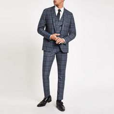 Shop our new Bright blue check skinny suit jacket at River Island today. Trouser Suits, Trousers, Blue Check Suit, Skinny Suits, Checked Suit, Three Piece Suit, Mens Fashion, Fashion Outfits, Woven Fabric