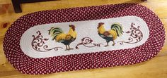 Country Rooster Kitchen Braided Rug Runner