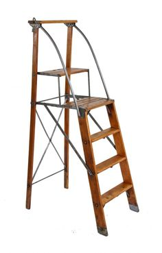 """intact and fully functional early american antique industrial lightweight and rigid """"dayton"""" collapsible safety ladder with guard rails - dayton safety ladder co. Antique Ladder, Vintage Ladder, Vintage Industrial, Industrial Style, Safety Ladder, Ladder Stands, Staircase Storage, Folding Ladder, Library Ladder"""