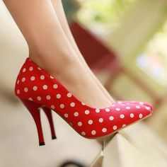 Fashion+Fabric+Upper+Dots+Printed+Sweet+Heels+#Fashion+#Heels+#maykool