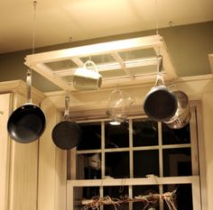 . Recycled Windows, Old Windows, Antique Windows, Barn Windows, Vintage Windows, Pot Rack Hanging, Hanging Pots, Kitchen Redo, Kitchen Remodel