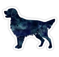 Golden Retriever and Flat-Coated Retriever Black Watercolor Silhouette by TriPodDogDesign