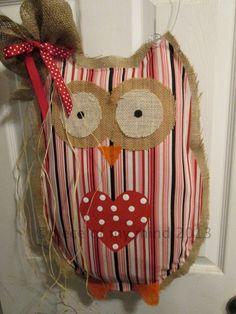 Owl Burlap Door Hanger Door Decoration Valentine by nursejeanneg, $32.00