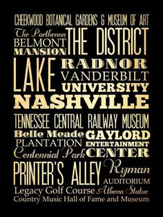 Nashville Tennessee Typography Art Poster