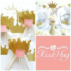 Gold Crown Cupcake Toppers available at KissHug Design. http://etsy.me/29PabGP