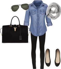Fall - Cute casual: Jean shirt/black leggings or black skinny jeans/flats/black purse/sweater scarf
