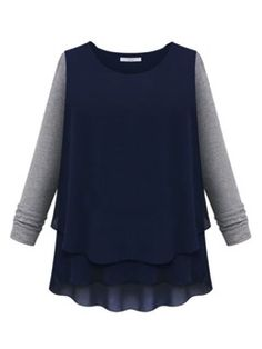 Shop Chiffon Panel T-shirt with Contrast Sleeve from choies.com .Free shipping Worldwide.