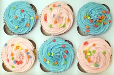 https://flic.kr/p/8gXkv4 | Pink & Blue Cupcakes | Final one of this selection, pink & blue in their presentation box before they  go to the school fair tomorrow.  Saved some for me :)
