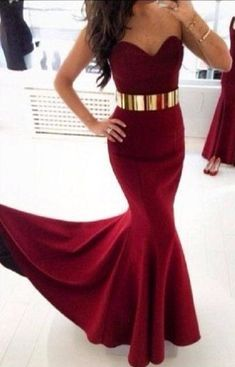 Burgundy Mermaid Long Prom Dress Sweetheart With Gold