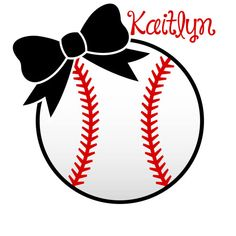 Softball with Bow decal  personalized by BtwoCreations on Etsy