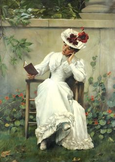 Lady with a book in the garden (1892). Brunner František Dvořák...