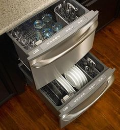 There's some evidence to show that dishwashers consumer less water and energy than handwashing dishes, which is good news for those of us who like to leave a party's worth of dishes to the machine. It seems that drawer-style dishwashers, which have been growing in popularity, are also more energy-efficient.