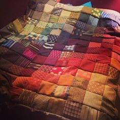 Quilt made out of Upholstery Fabric samples from my work!
