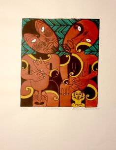 Whanau 2 by Robyn Kahukiwa for Sale - New Zealand Art Prints