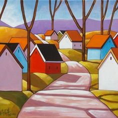 14x18 Fall Road ORIGINAL MODERN FOLK ART PAINTING ABSTRACT LANDSCAPE Horvath NR