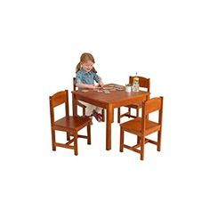KidKraft Farmhouse Kids 5 Piece Table and Chair Set Kids Activity Table Set Pecan >>> Continue to the product at the image link.