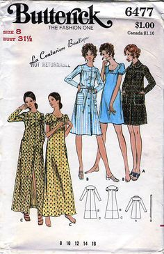 Butterick 6477 Vintage 70s Misses Robe and Gown Sewing Pattern - Uncut - Size 8 - Bust 31.5