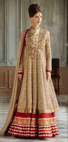 USD 96.64 Beige Net Floor Length Anarkali Suit 54236